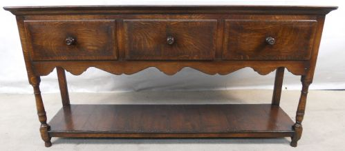 Antique Jacobean Style Oak Three Drawer Dresser Base